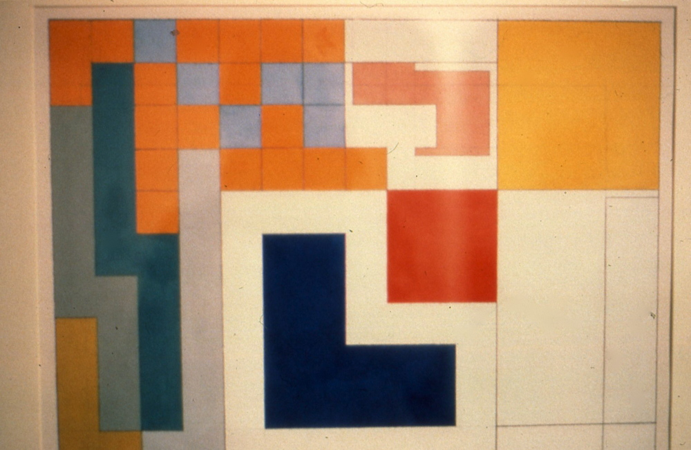 "1930, 1980. Gouache on paper 20.5""x30"""