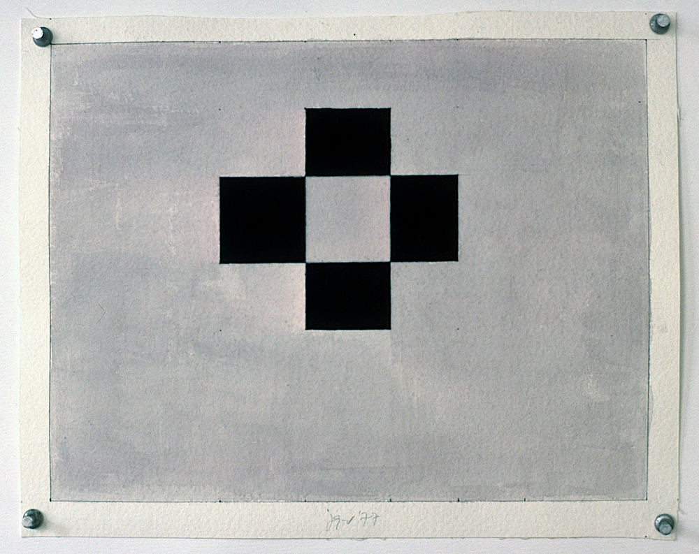 "Study, 1977. gouache on paper. 9 3/8""x12 1/4"""
