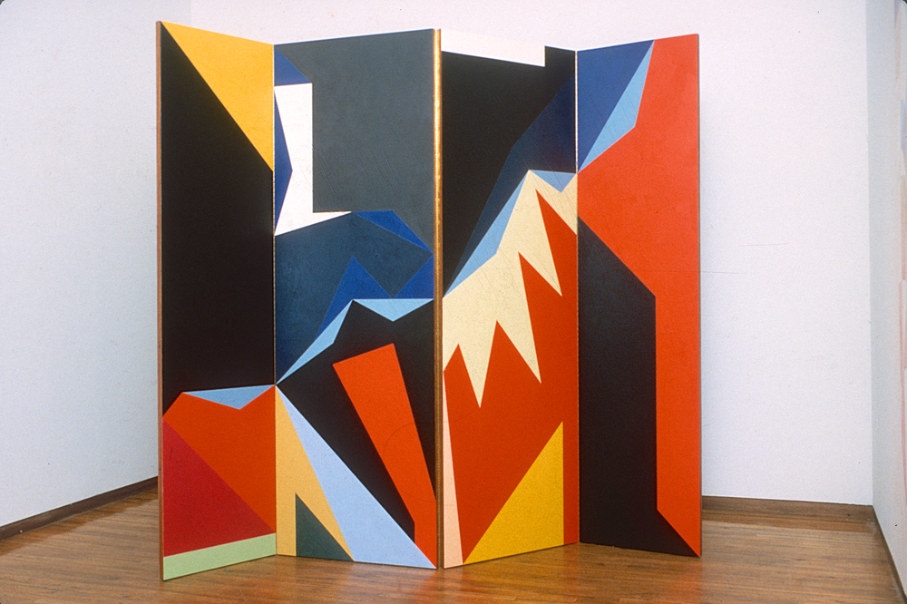 "North South, 1984. Plywood panel, piano hinges, oil paint. approx. 76""x76"" (4panels)"