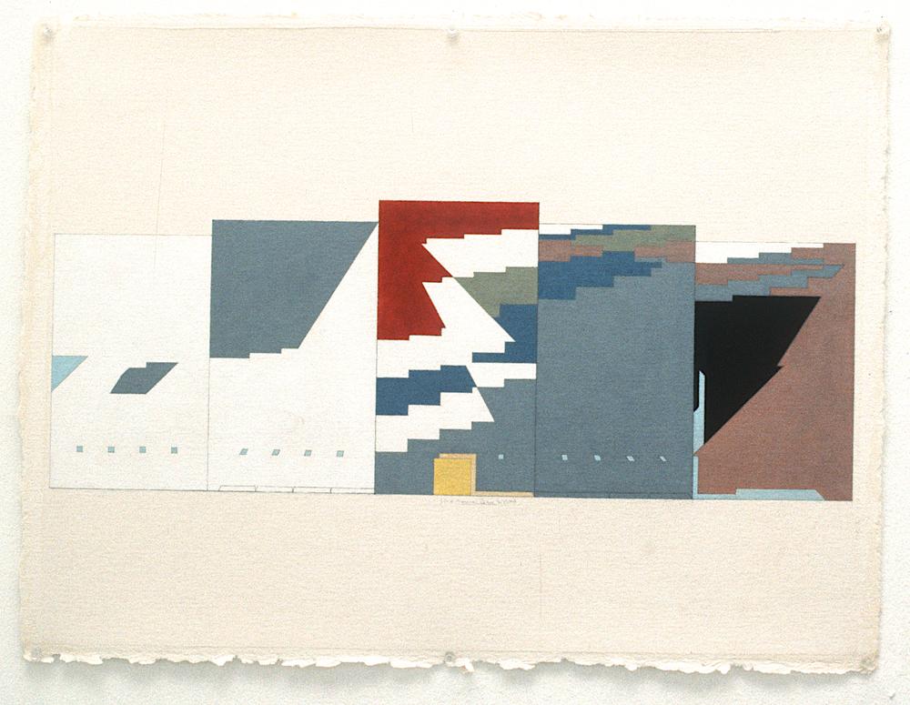 "Masurian Lakes (II study), 1981, gouache on paper. 10 3/8"" x 28 1/4"" (image), 22 3/4"" x 30 1/4"" (paper)"