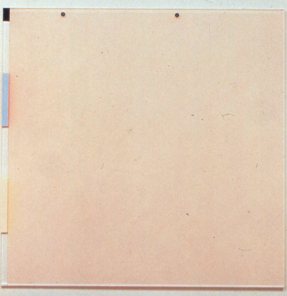 "Pink Desert (Contemporary Materials), 1991. vinyl on plexi (back and front), 42""x42""x2"""
