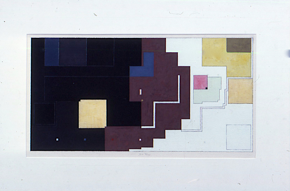 "(i), 1979. gouache on paper. 14""x25.5"""