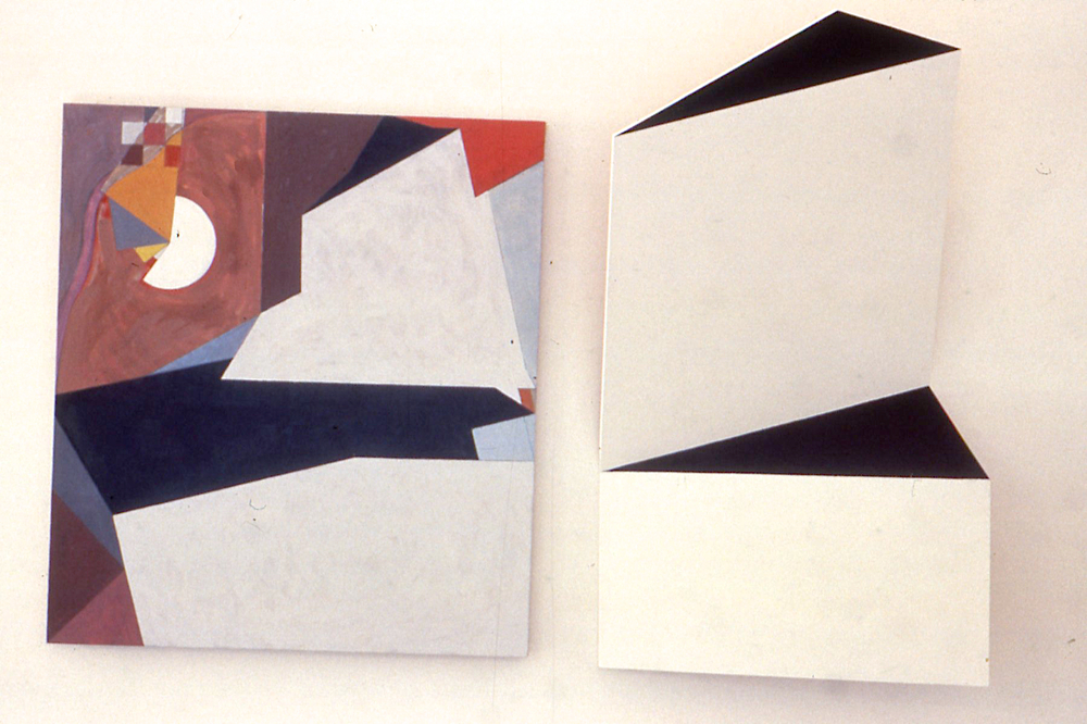"Discontinuous, 1988 (?). oil canvas and wood. 60""x106"""