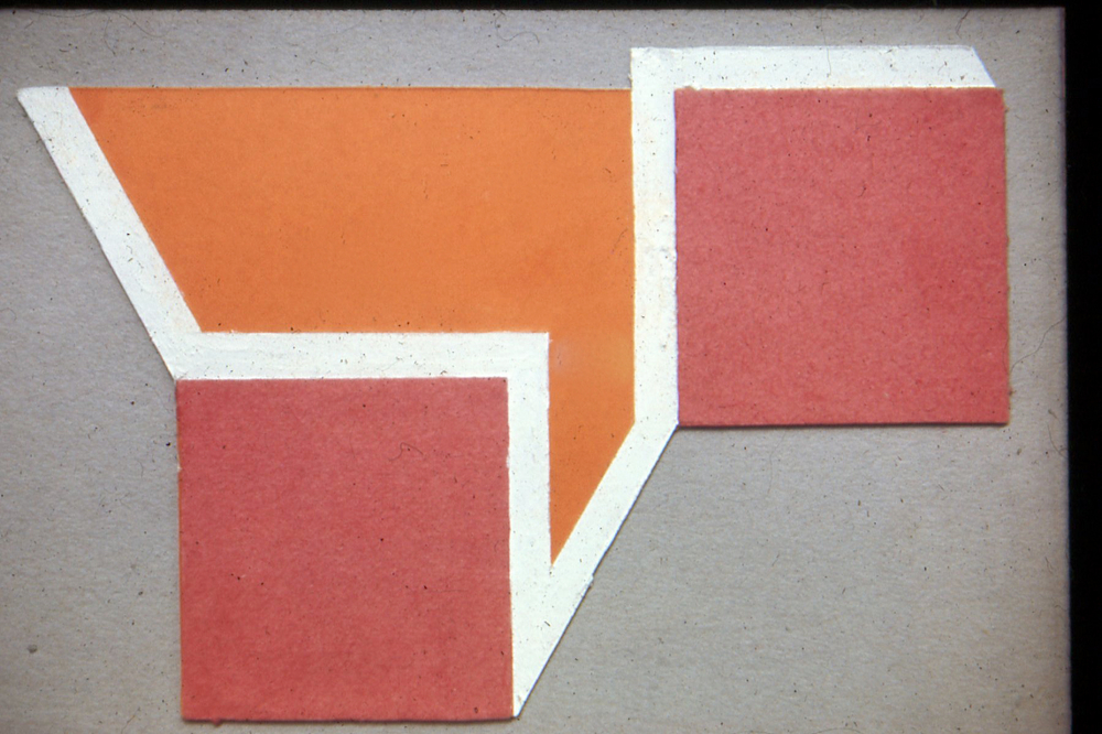 "Plan for a painting, 1969. Card and Paper. 6""x4.5"""
