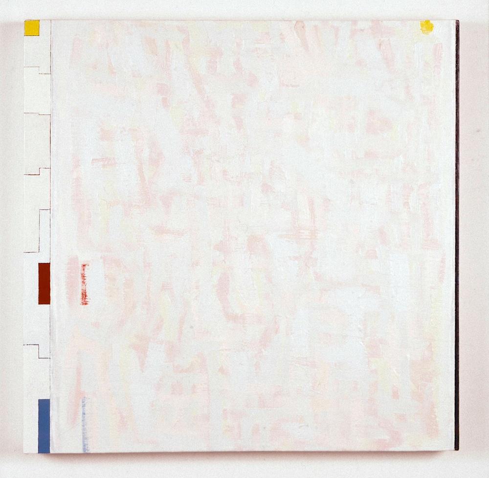 "And then (Terror, Pleasure), 1991. oil on linen. 28""x28""x2"""