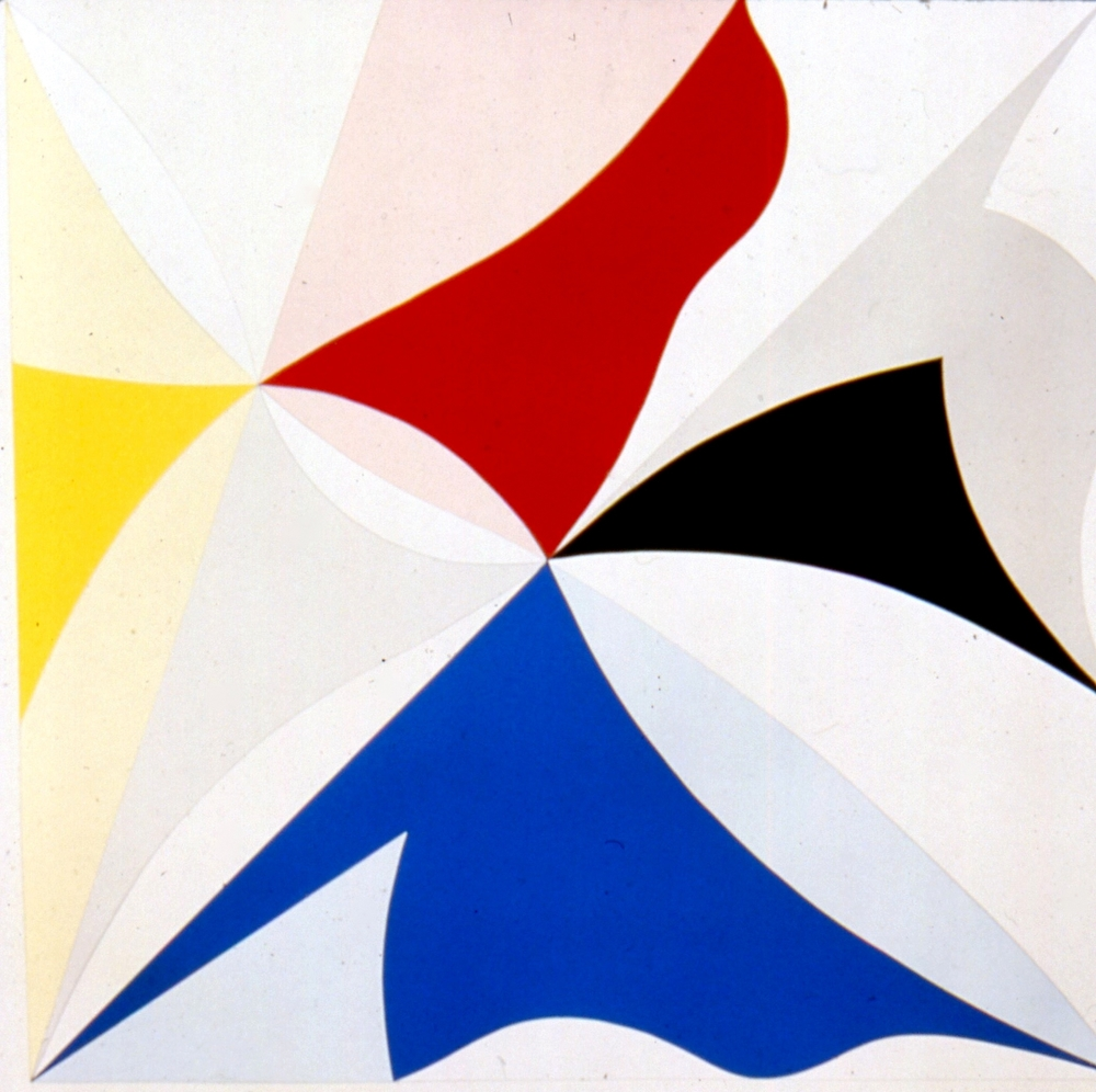 "Yellow, Grey, Blue, Black, Red, White. Ed 15, 1985 silkscreen & pencil, arches 88 paper, 50""x51 1/2"""