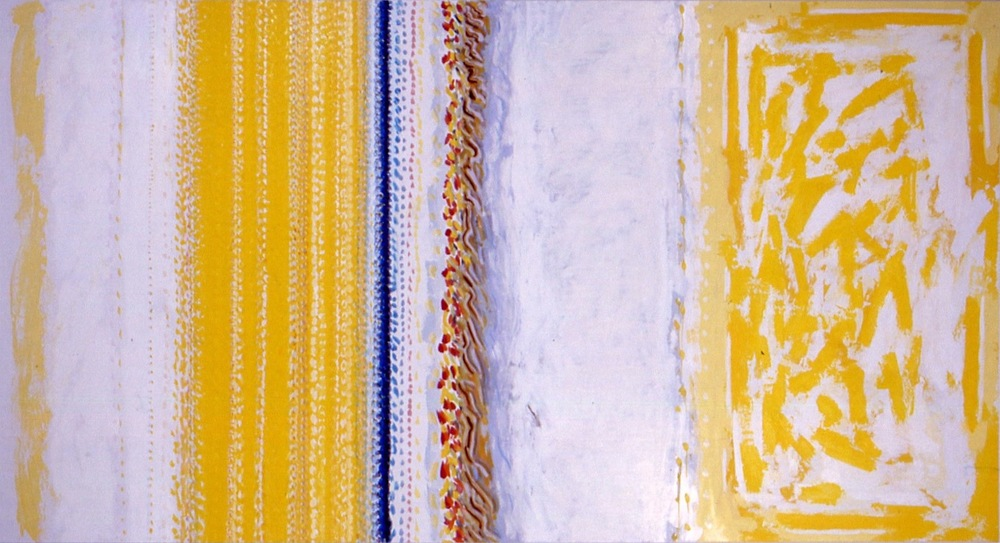 "Ghost, 1998, oil on linen, 78 1/2""x147 1/2""x2 1/2"" to 1 1/2"""