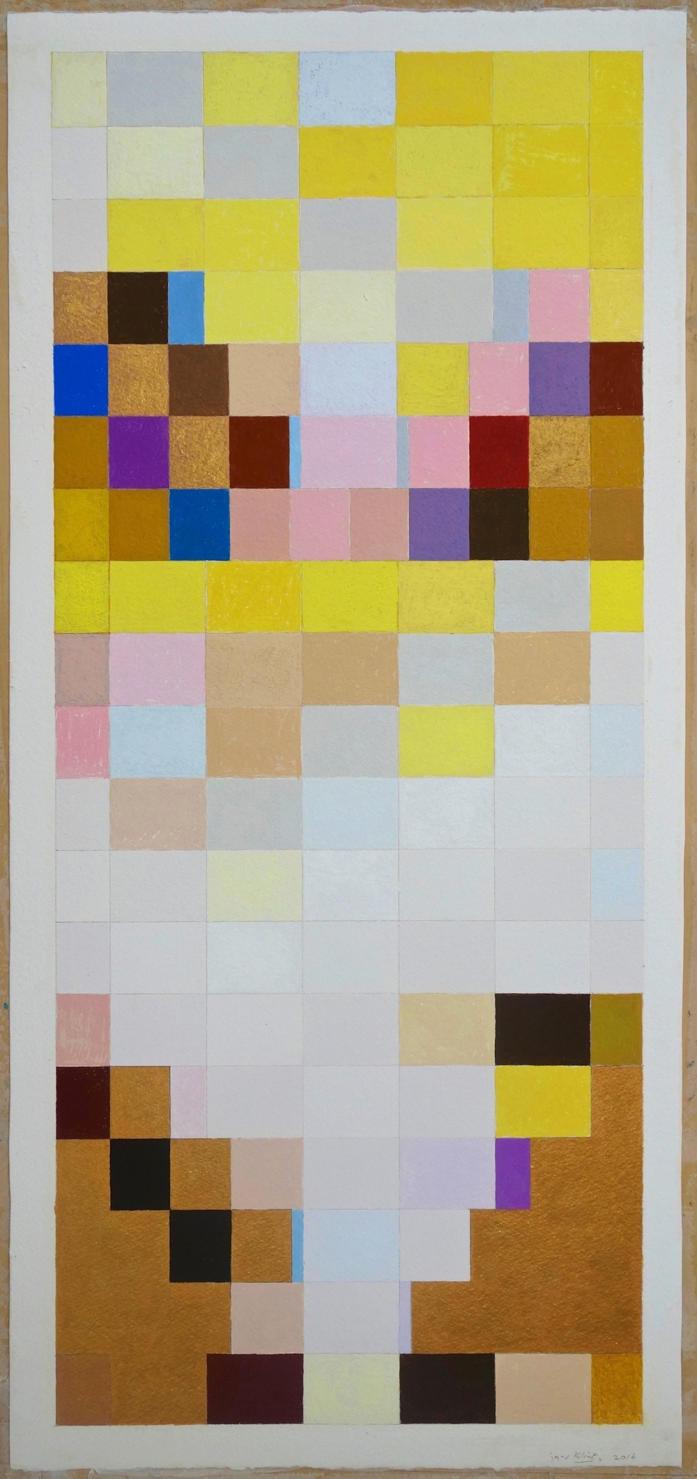 Klimt (2016) Gouache and Gold on Paper. paper 30x14; image 28.5x12.25 in.
