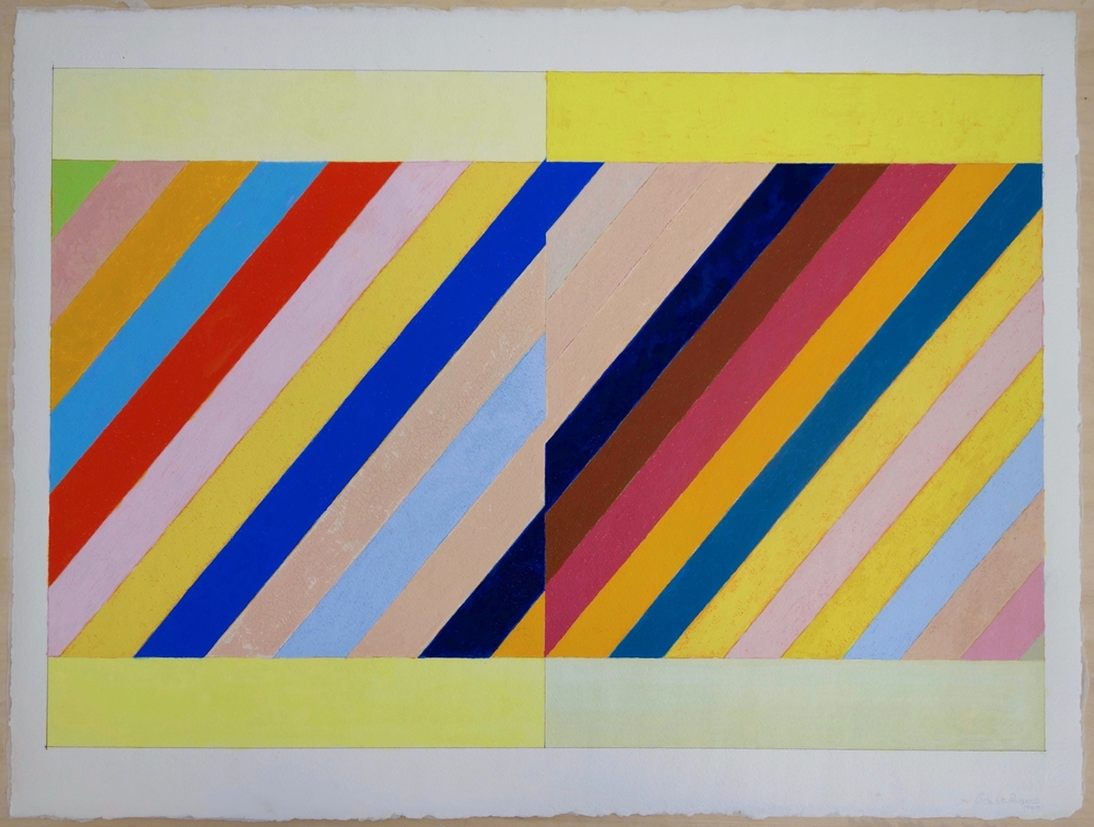 Bright Diagonals (2014), Gouache on Paper. paper 22.5x30; image 19x28 in.