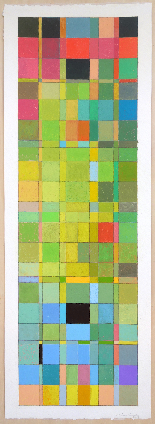 Green Gouache (2015), Gouache on Paper,  paper 30 10.25; image 28.5x8.75 in.
