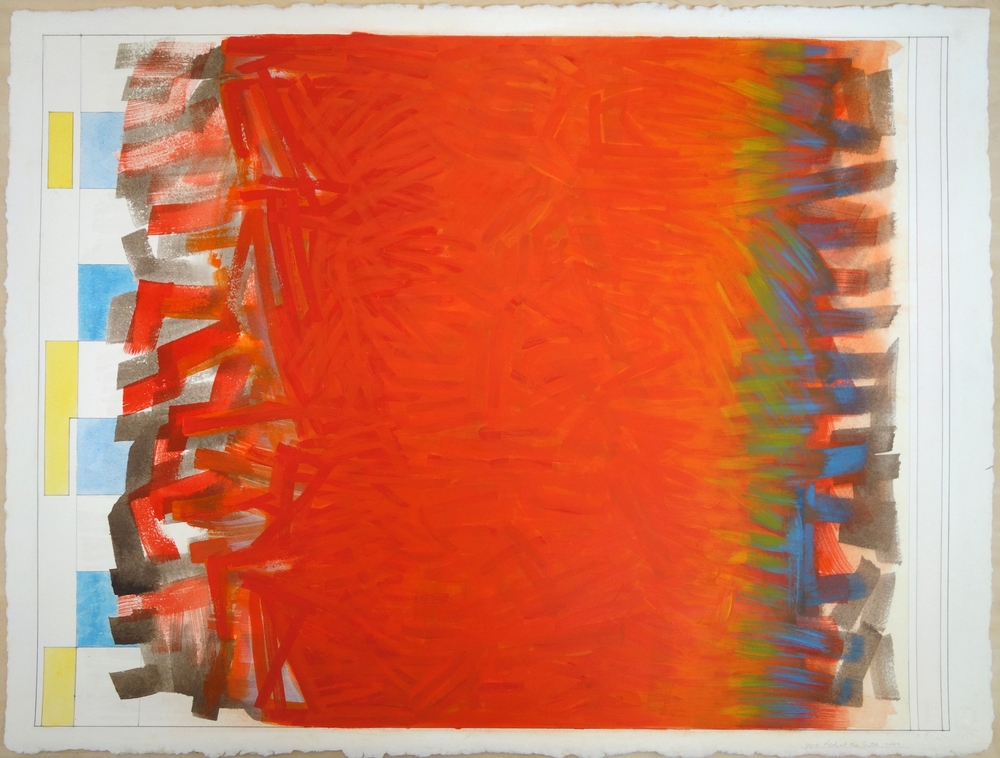 "Red at the Centre, 2001. Gouache on Paper. 22""x30"" (paper); 21.25""x28"" (image)"