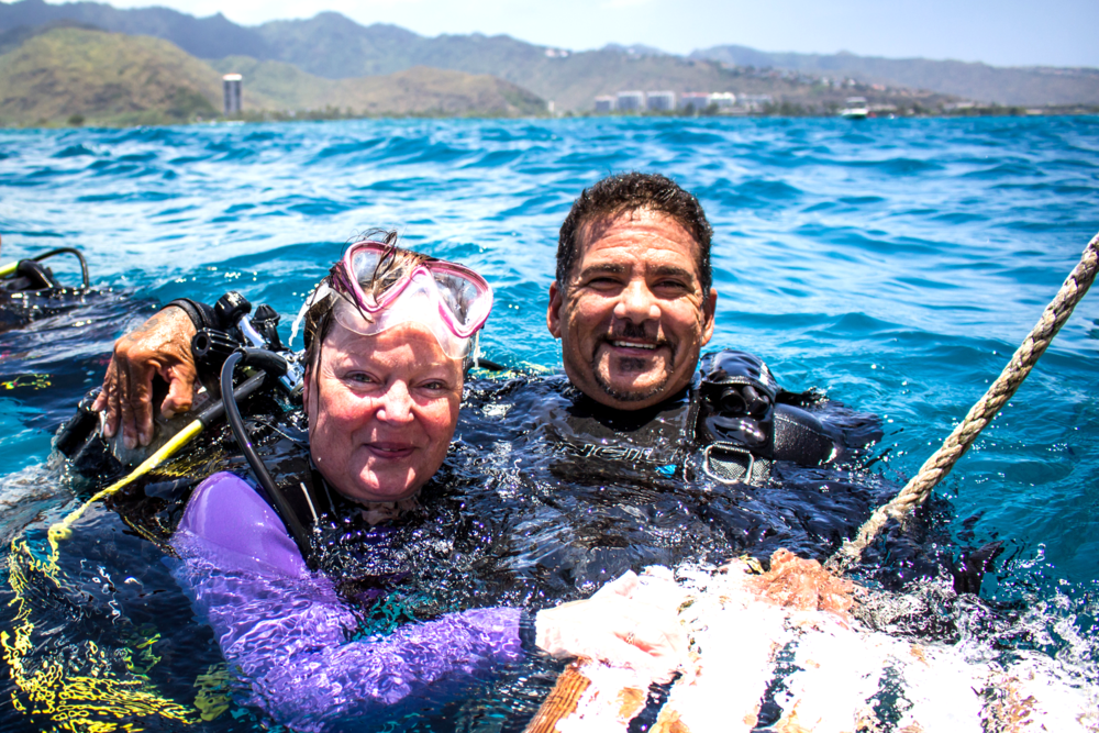 """Mum,"" from the UK, is all smiles after her first dive!"