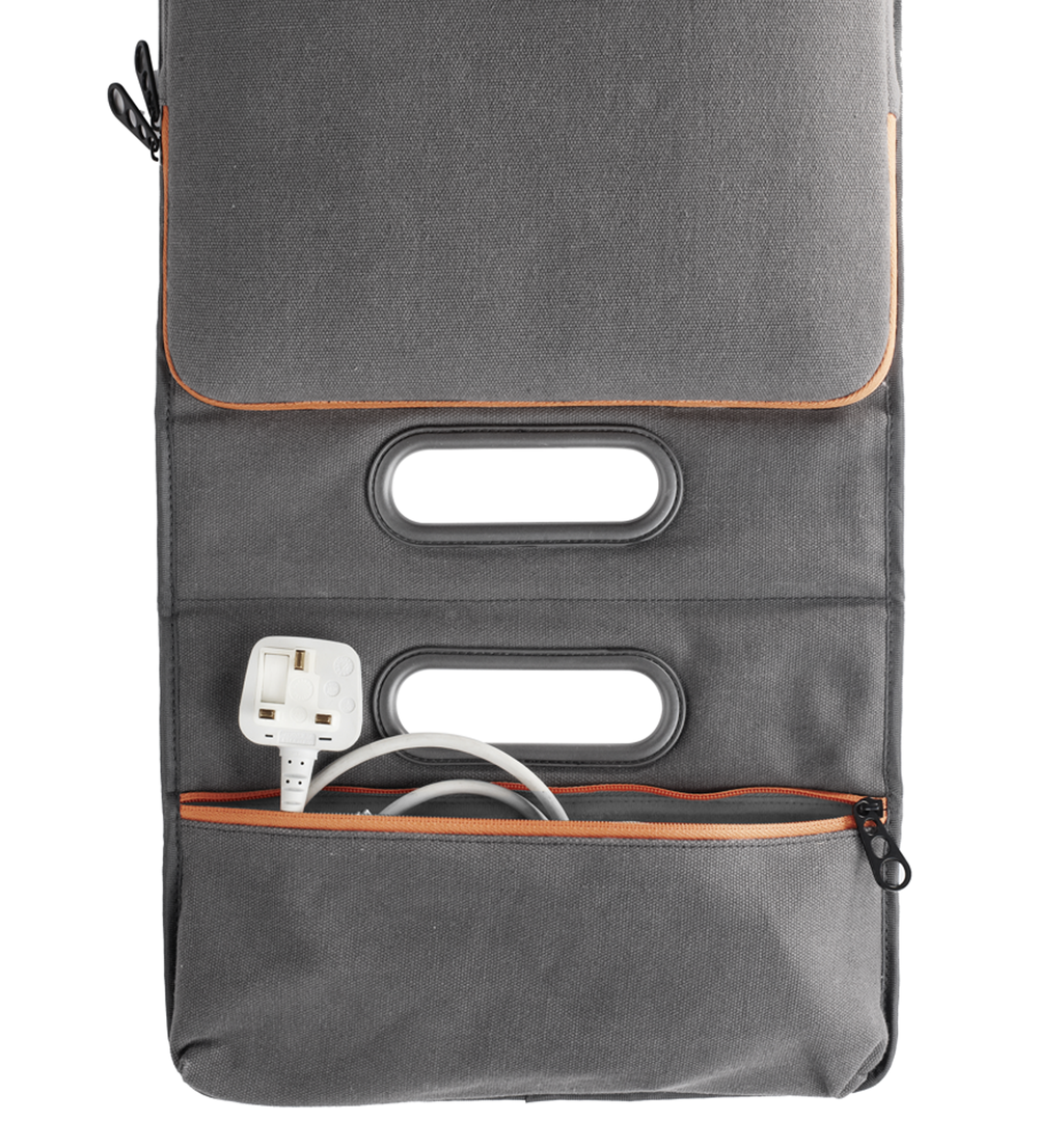 Front laptop compartment and back charger pouch