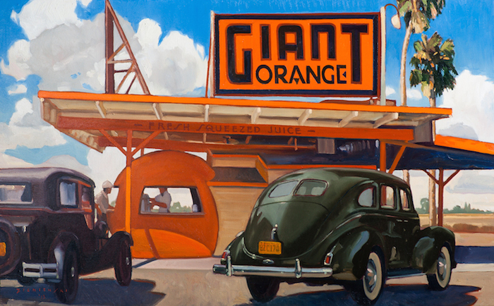 Dennis Zieminski  Giant Orange, Bakersfield , 2012 30 x 48 inches, oil on canvas