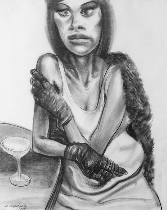 Artemio Sepulveda  Lady with a Glove , 1998 28 1/2 x 35 1/2 inches, charcoal on paper