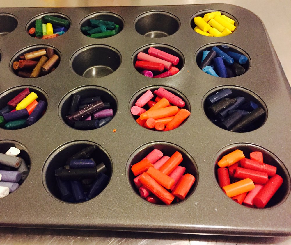 Broken crayons were placed in a non-stick mini muffin tray.