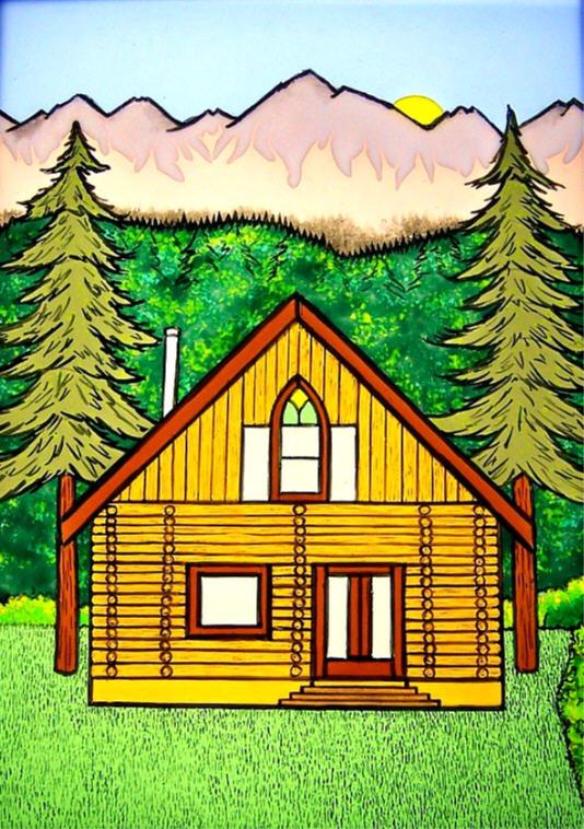 Fused  Tile Cabin 2006 Painted.JPG