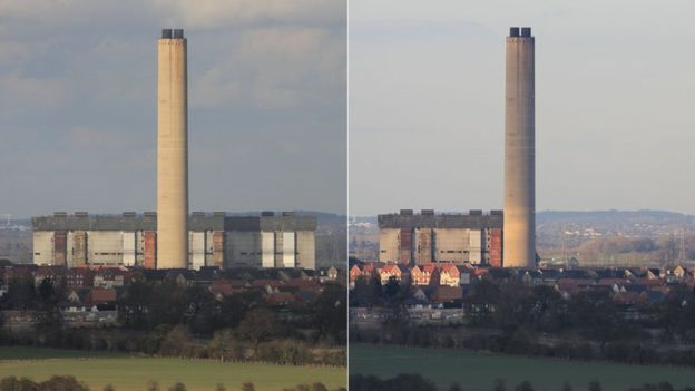 Former power station employee Nigel Brady took these images before and after the collapse