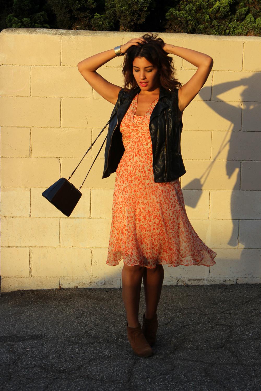 Dress: DVF Boots: Dolce Vita Vest: H&M