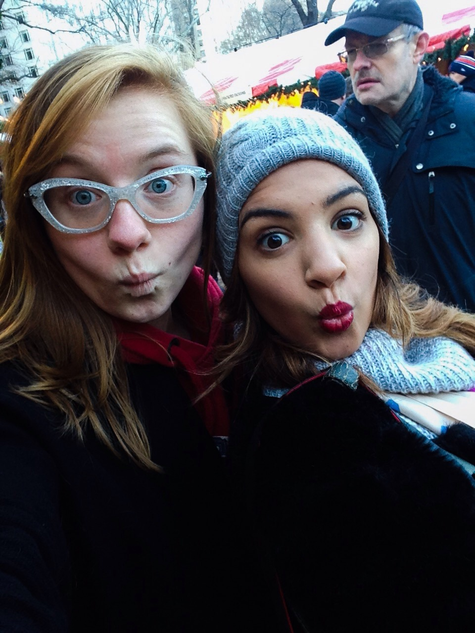 At the Christmas Market, with my friend Svetlana as we search for gifts