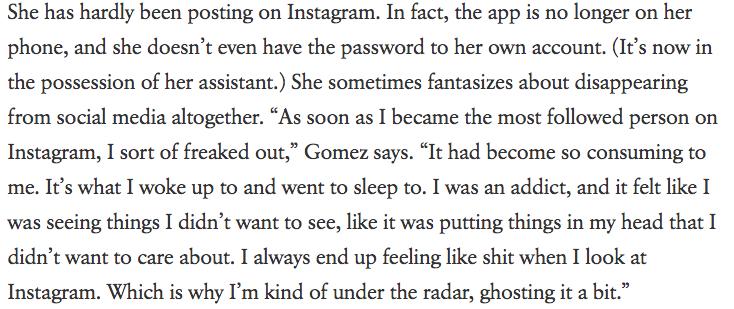 Excerpt from Selena Gomez's Vogue Interview