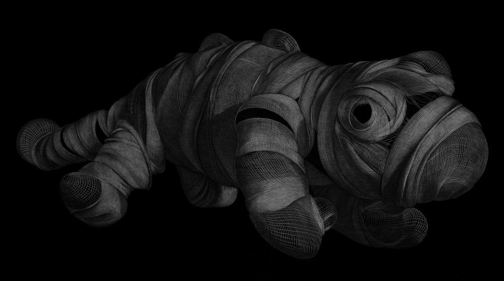 Protagonist (Lizard)  2013 Engraved drawing on vinyl 137 x 244 cm