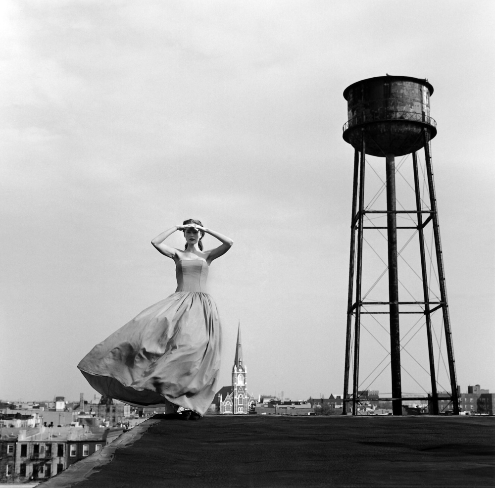 Viktoria standing on roof near water tower, Brooklyn, NY  2000 Silver gelatin print 27 x 27 cm (image) 56 x 66 cm (mount)
