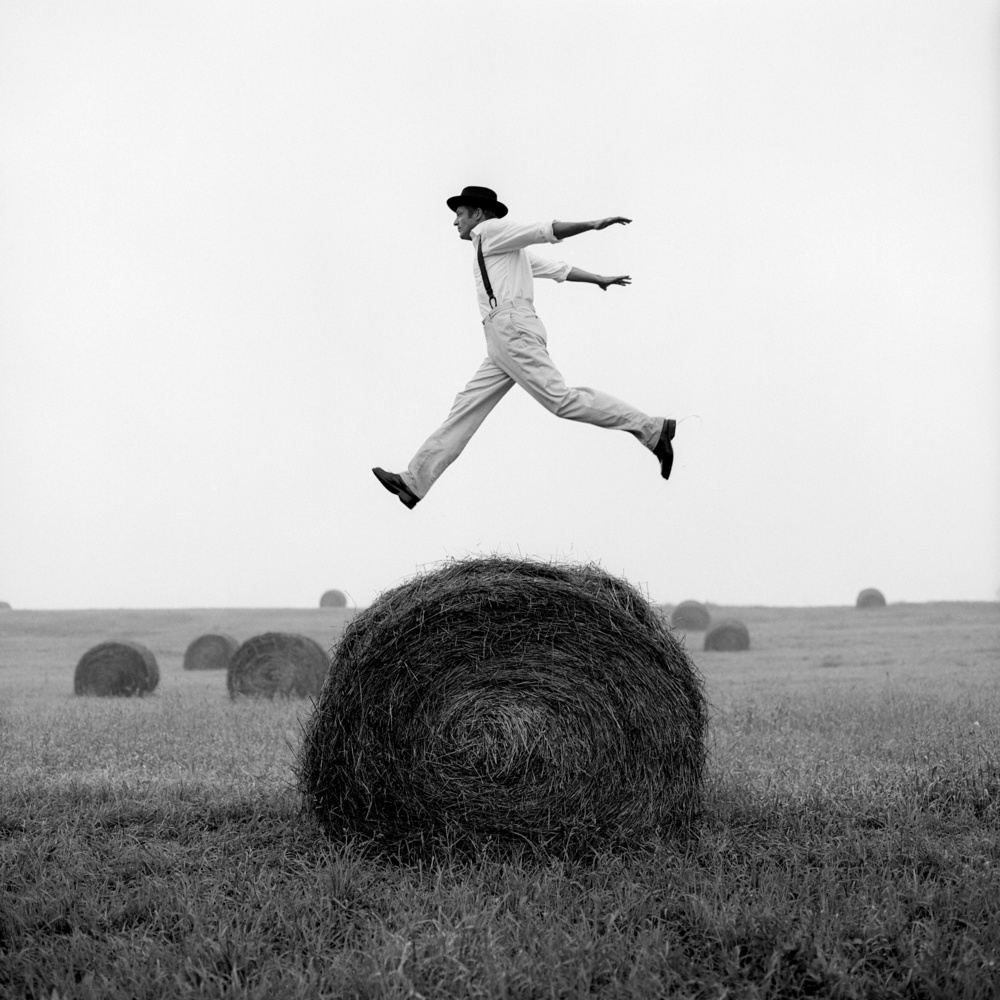 Don Jumping Over Hay Roll,  Monkton, Maryland 1999 Archival pigment print 69 x 69 cm (image) 89 x 99 cm (paper)
