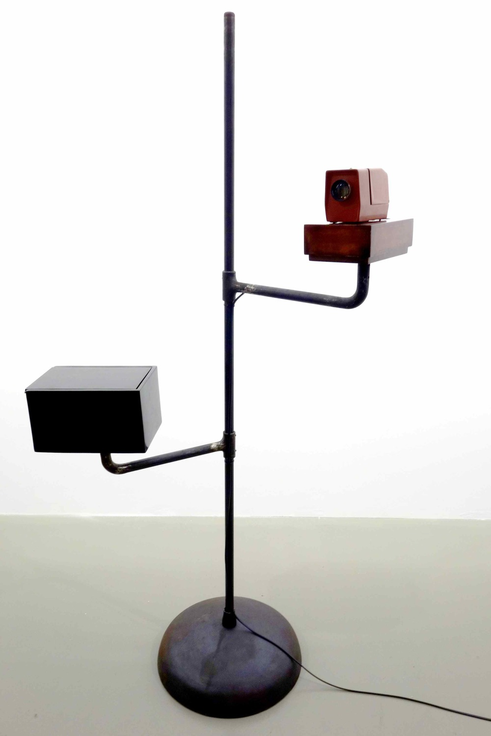 Lacquerscope #3  2014 Resin composite medium format (50mm) projector. Iron stand, base and swivel arms 174.5 x 102 cm