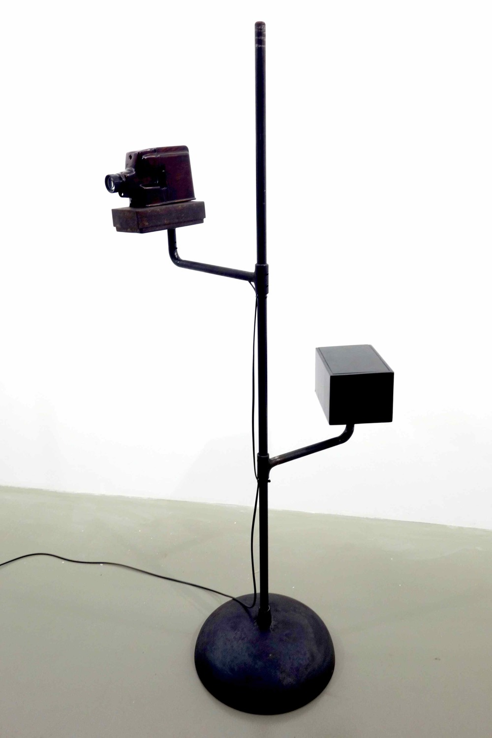 Lacquerscope #6  2014 Son Ta lacquered metal small format (35mm) projector. Iron stand, base and swivel arms 174.5 x 99.3 cm