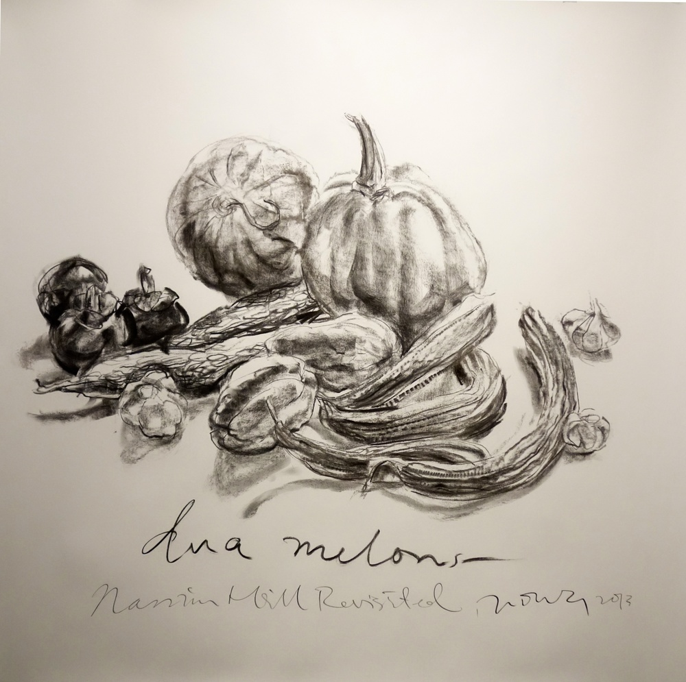 dua melons   2013 Charcoal on paper approx. H120 x W120 cm