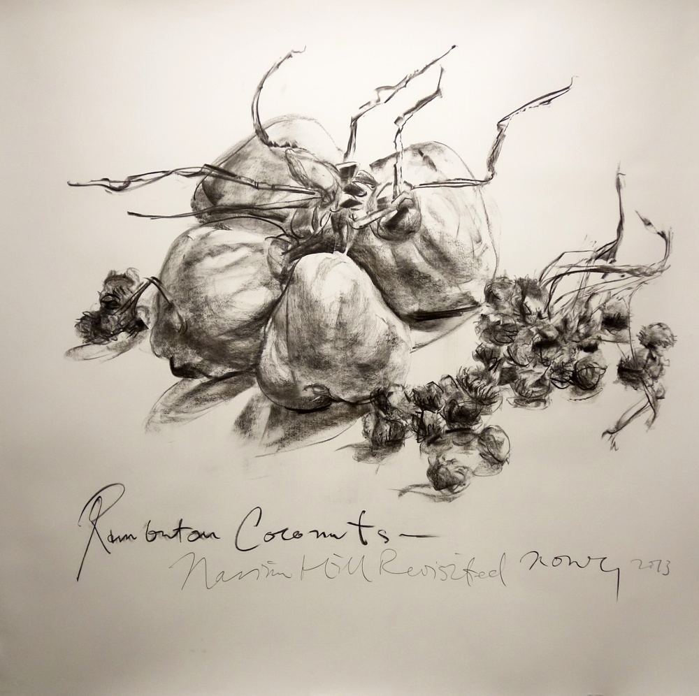 Rambutan Coconuts  2013 Charcoal on paper approx. H120 x W120 cm