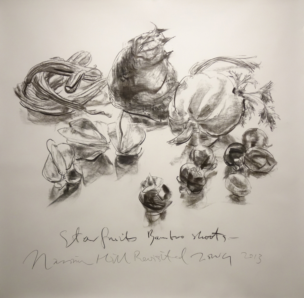 Starfruits and Bamboo shoots  2013 Charcoal on paper approx. H120 x W135 cm