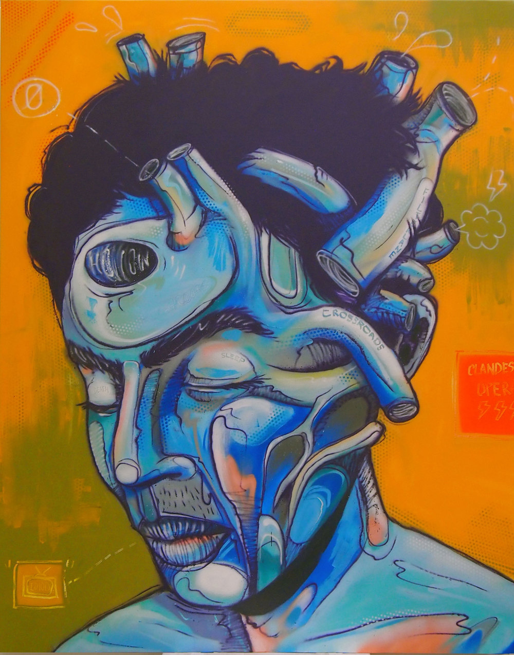 ZERO  CardiacUnrest  2013 Aerosol paint on canvas 60 x 40""
