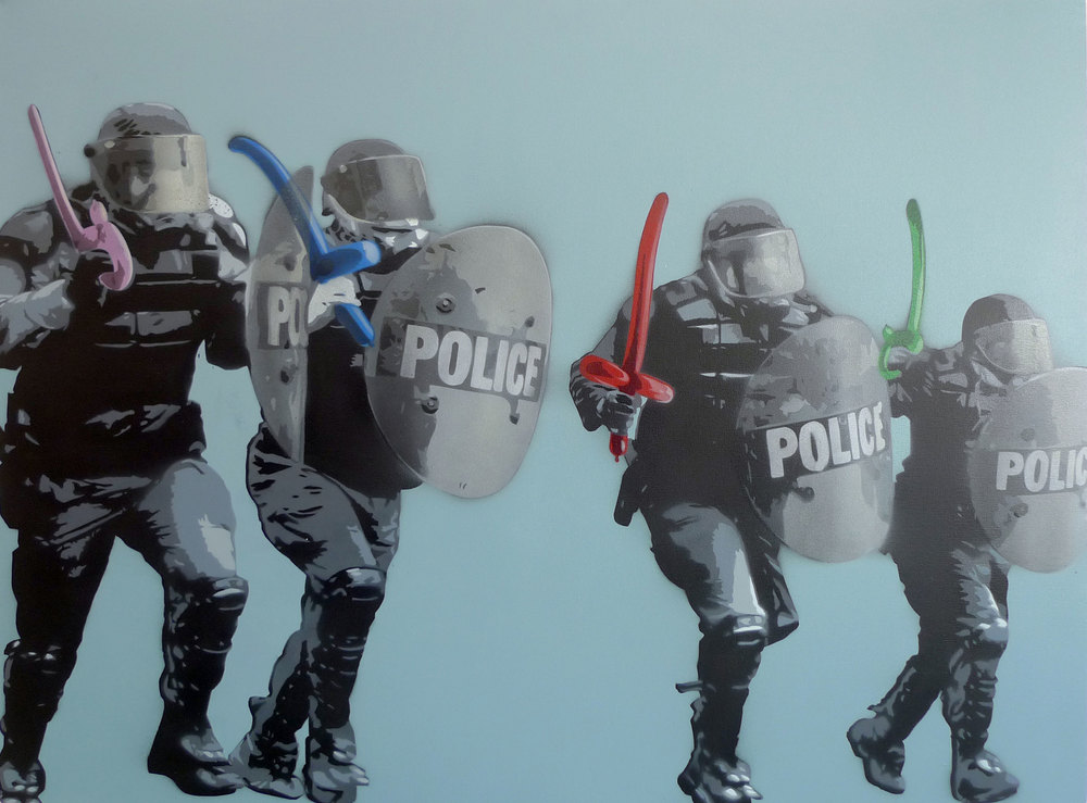 TR853-1  Riot.Party  2013 Spray paint on canvas 30 x 40""