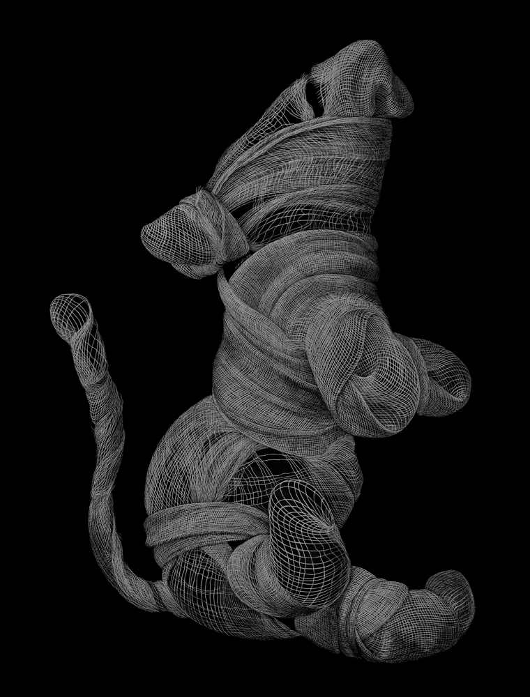 "Protagonist (Rat)  2013 Engraved drawing on vinyl 34 x 26"""