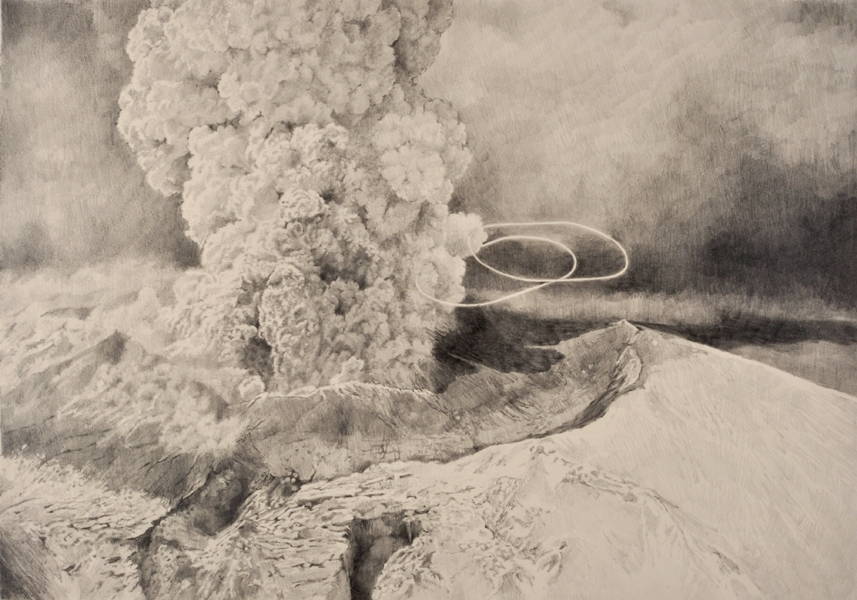 Ashley YEO  Brutalism of the Universe (Volcano)  2012 Graphite on paper 37.5 x 55 cm