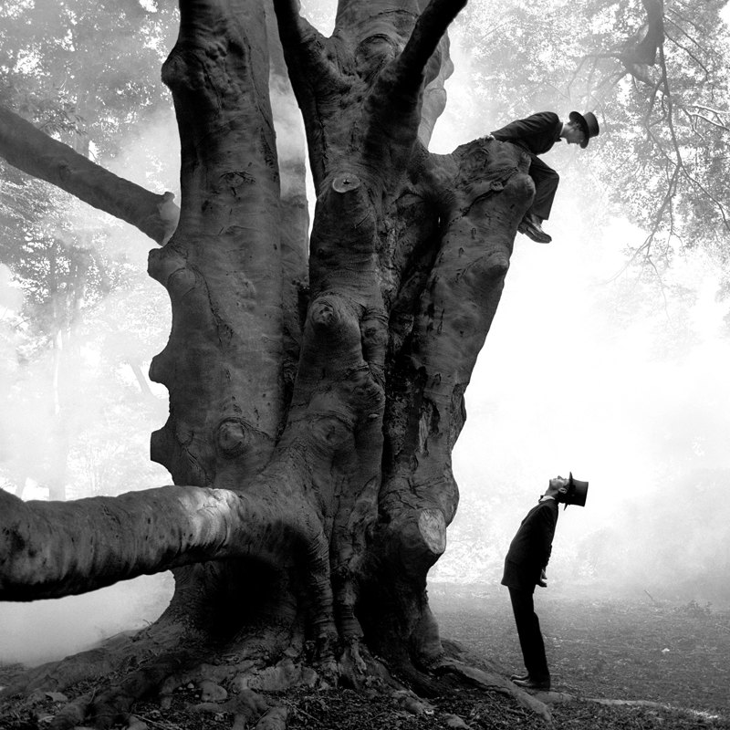 Rodney SMITH  Twins in Tree, Snedens Landing, New York  1999 Archival pigment print 145 x 145 cm (image)