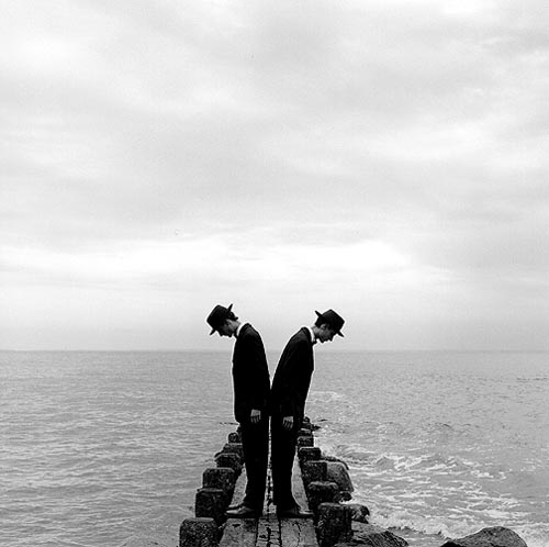 Rodney Smith  Twins Leaning Outward on Dock no.1, Sherwood Island, CT  1997 Silver gelatin print 26.70 x 26.70 cm (image) Edition 1/25