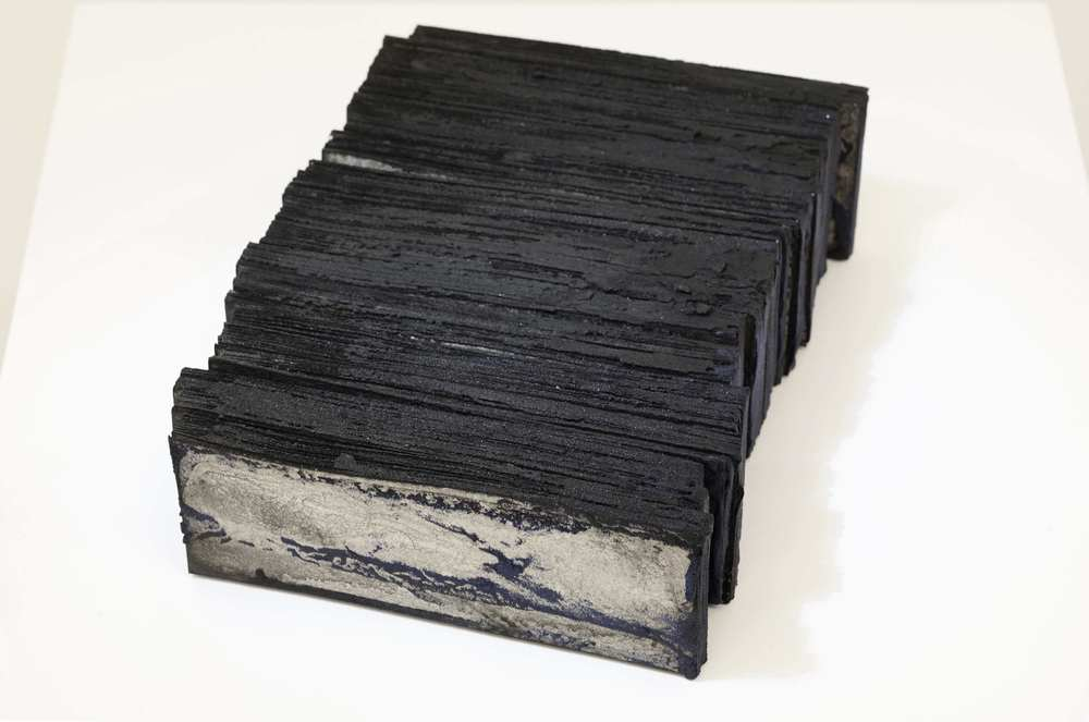 n. 320 - residue  2014 Acid-free cotton pulp watercolour paper with  sumi  ink, charcoal pigment,  Gosu  (lead-free synthesized cobalt oxide-based pigment),  Yakirokusho  (burnt malachite mineral pigment and  nikawa  (cow hide glue) H6 x W25 x D16 cm (artwork)