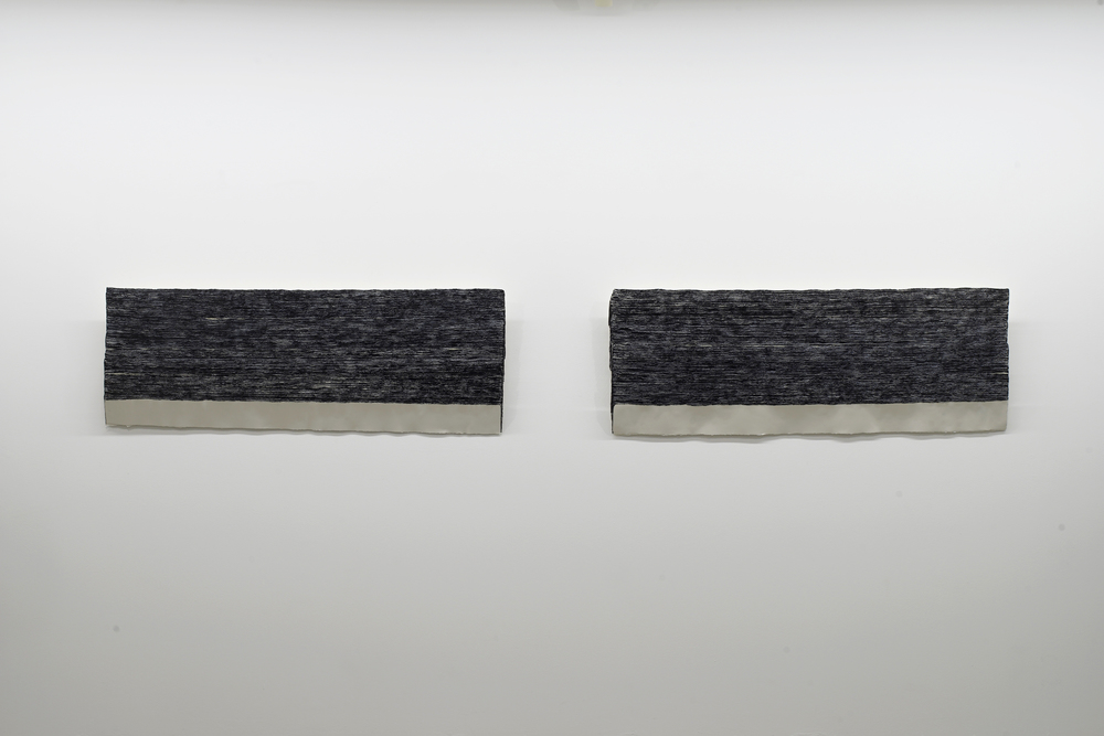 n. 329 - sedimentation  (diptych) 2015 Acid-free cotton pulp watercolour paper, archival EVA glue,  Aizumiiro  (tourmaline mineral pigment), Ultramarine ash pigment and  nikawa  (cow glue hide) H58 x D150 x W6 cm (each; artwork)