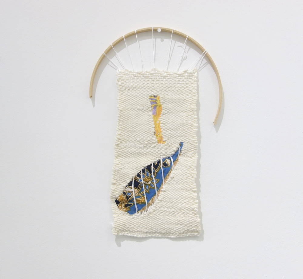 Izziyana Suhaimi, Cross Section of Bone IV, 2015, Cotton thread woven with found Batik on wooden arch, H41 x W26 cm.jpg