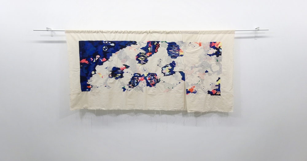 Izziyana Suhaimi, I Remember Time with Such Slowness, 2015, Cotton thread embroided on calico, H100 x W209 cm.jpg