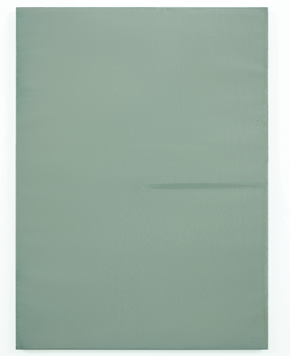 Luke HENG Green on White (Sideways) no.2 2015 Oil on linen H130 x W95 x D5 cm
