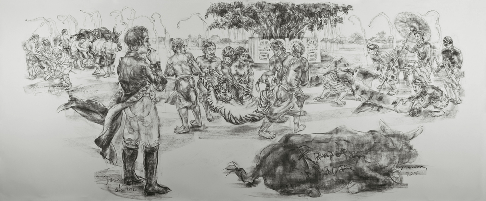 Jimmy ONG  Rampogan Macan  2014 Charcoal on paper 128 x 313 cm