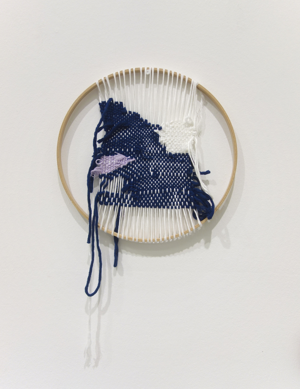 Izziyana Suhaimi  Cross Section of Bone VI  2015 Cotton thread woven on wooden hoop H33 x W27 cm