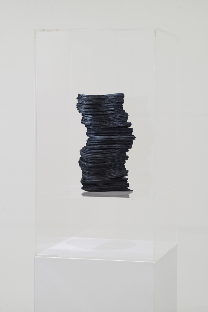 Grace TAN  n. 319 - layering  2015 Acid-free cotton pulp watercolour paper with  sumi  ink, graphite pigment, iron filing,  Iwakuro  (iron oxide mineral pigment) and  nikawa  (cow hide glue) H25 x W13 x D13 cm (artwork)
