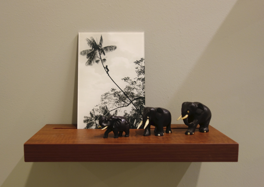 Donna ONG  Postcards from the Tropics (vi)  2016 Diasec print, wooden shelf, and tropical souvenirs (wooden elephants) Dimensions variable