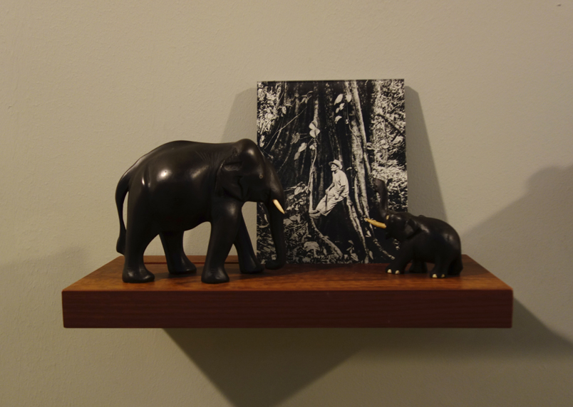 Donna ONG  Postcards from the Tropics (xi)  2016 Diasec print, wooden shelf, and tropical souvenirs (wooden elephants) Dimensions variable