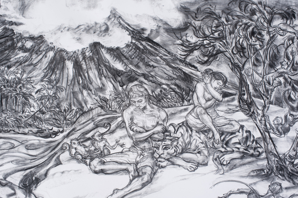 Jimmy ONG  Raffles Descends The Seven Storey Mountain (莱佛士回首苍生)  (detail) 2016 Charcoal on paper H128 x W259 cm